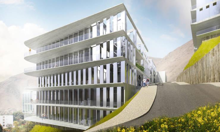 Lofts à Lima - Façade:  de style  par Aude Morgenthaler