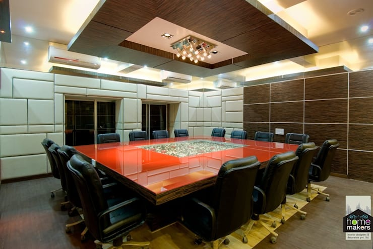 Modern Conference Room:  Media room by home makers interior designers & decorators pvt. ltd.