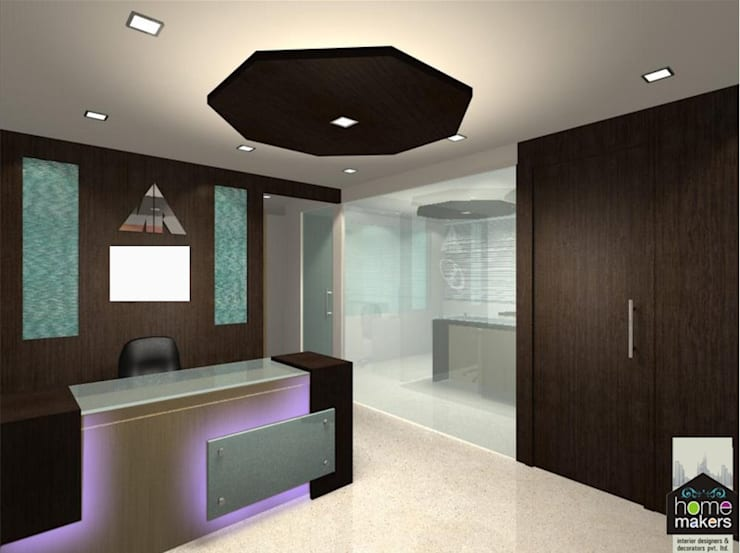 Reception.:  Study/office by home makers interior designers & decorators pvt. ltd.