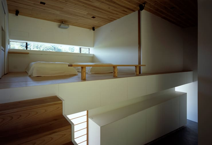鋸南の家: 石井秀樹建築設計事務所が手掛けた寝室です。,モダン