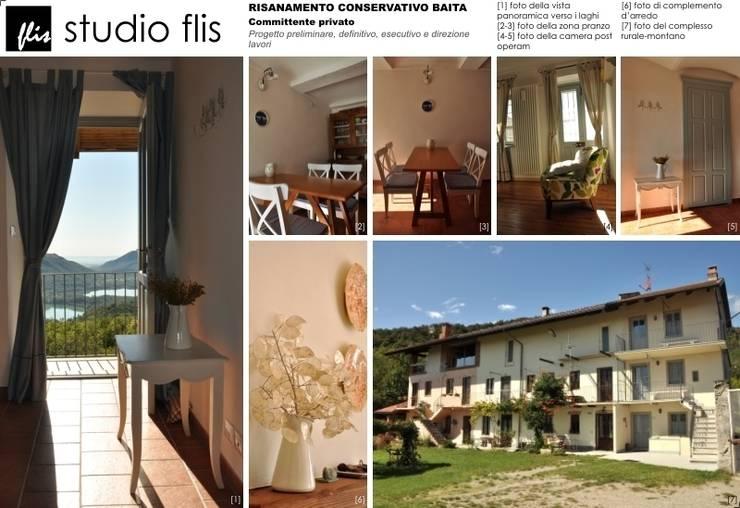 Risanamento conservativo baita:  in stile  di Architetto Igor Flis, Rurale