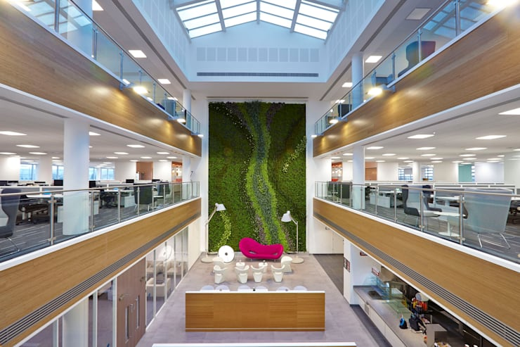 Centrica Office Atrium Living Wall:  Interior landscaping by Biotecture