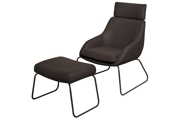 Palau chair Blue extended + ottoman,sled shaped base: moderne Woonkamer door Palau