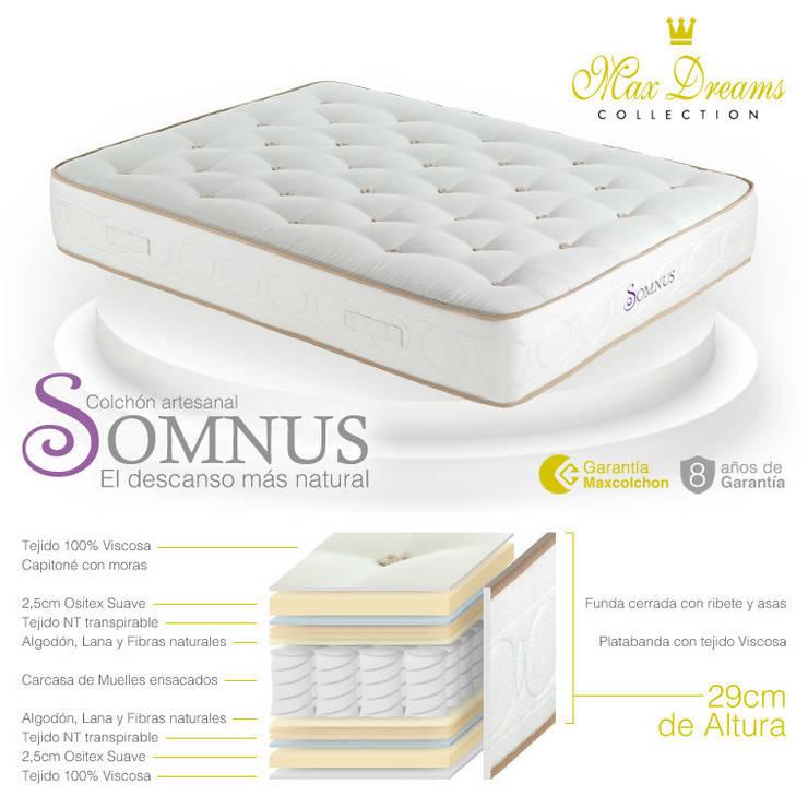 Colchón Somnus: Dormitorios de estilo  de Maxcolchon