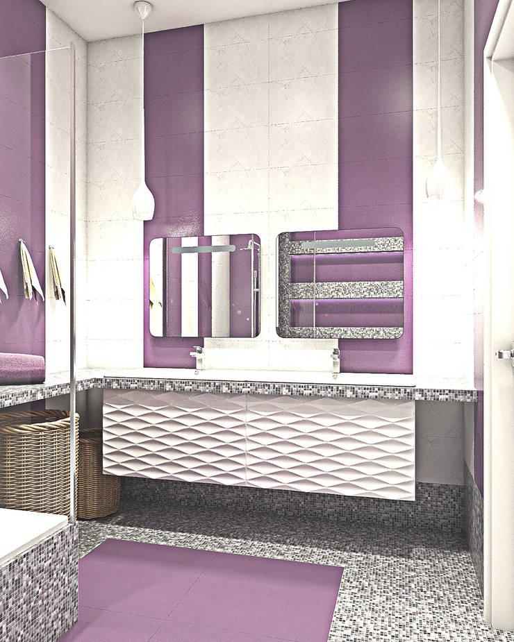 Оттенки фиолетового: Ванные комнаты в . Автор –  Pure Design