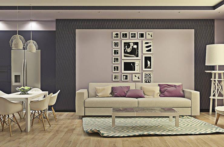 Оттенки фиолетового: Гостиная в . Автор –  Pure Design
