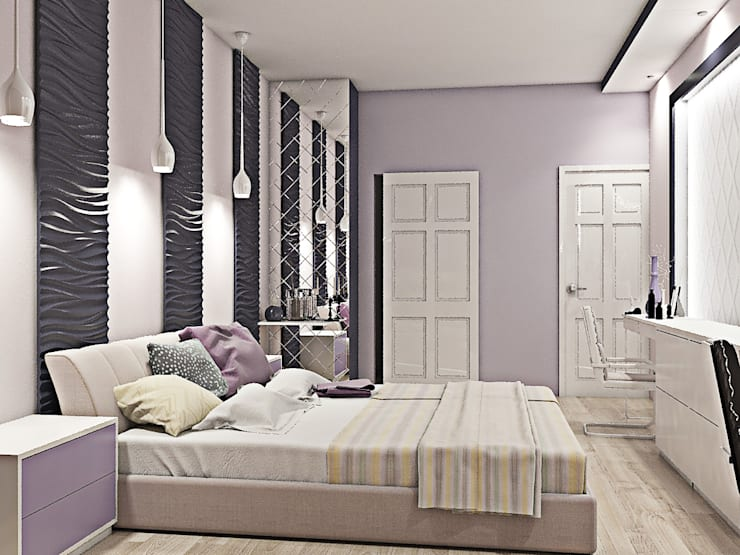 Оттенки фиолетового: Спальни в . Автор –  Pure Design