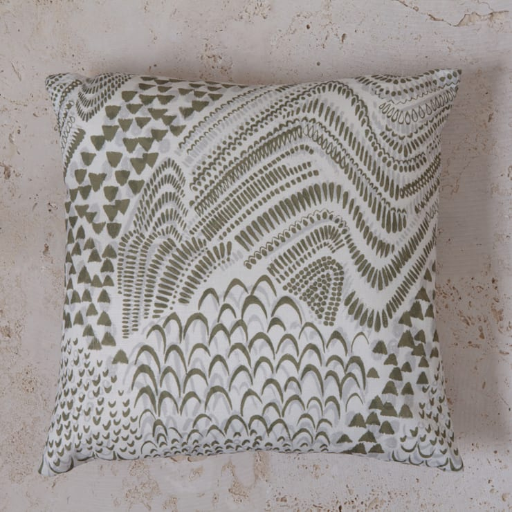 linen starling print cushion:  Household by Fate London