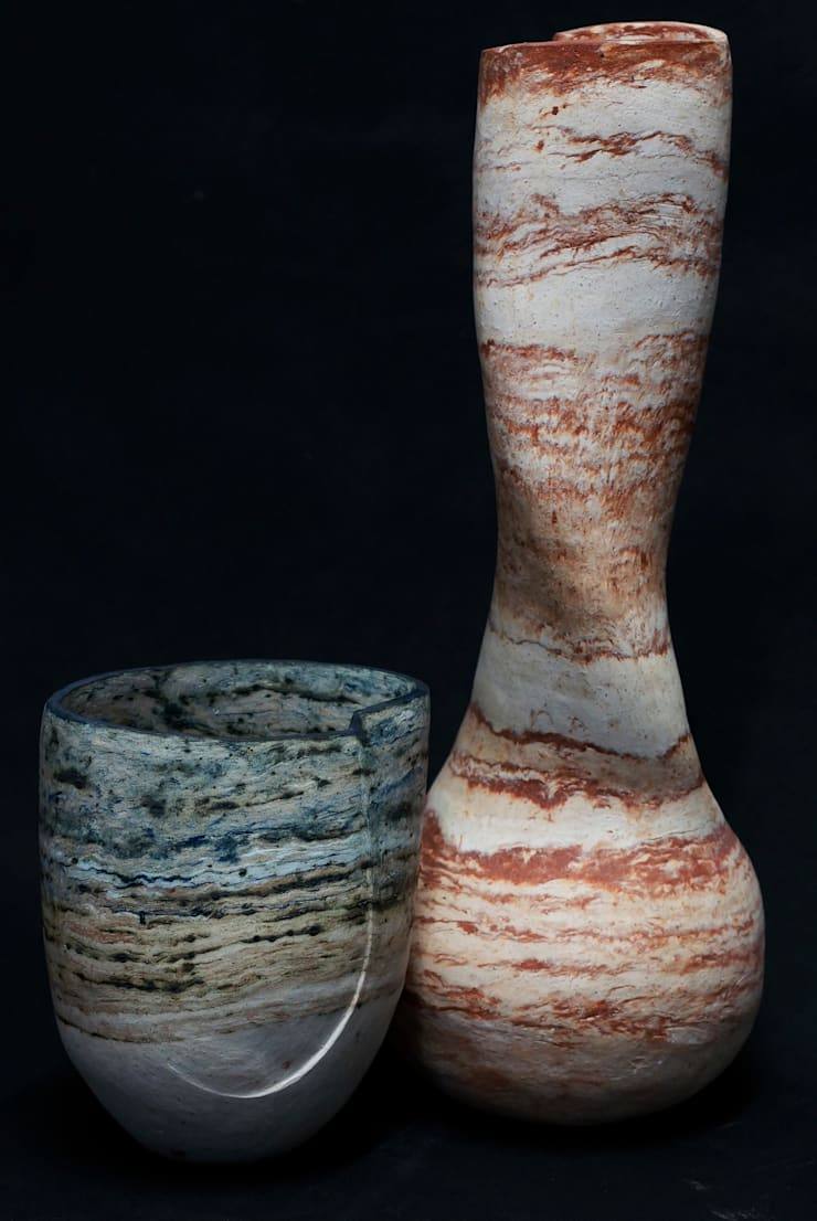 Earth Striped Pot and Twisted Onion Pot by Clare Cummins:  Artwork by Riverside Art and Glass, Contemporary Gallery
