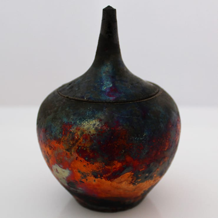 Small Copper Fumed Raku 'Onion' Pot by Pat Armstrong:  Artwork by Riverside Art and Glass, Contemporary Gallery