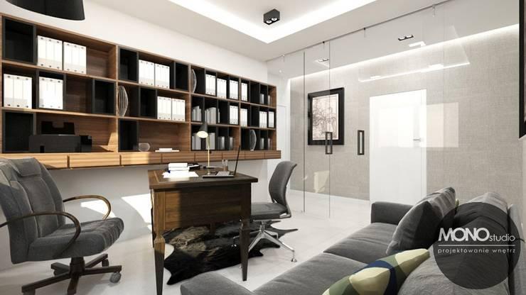 Domowe Biuro W Mieszkaniu Krakowskiego Przedsiębiorcy Nowoczesne domowe biuro i gabinet od MONOstudio Nowoczesny