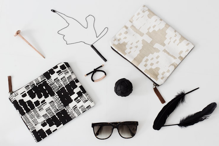 Screen printed pouches:  Living room by bococo