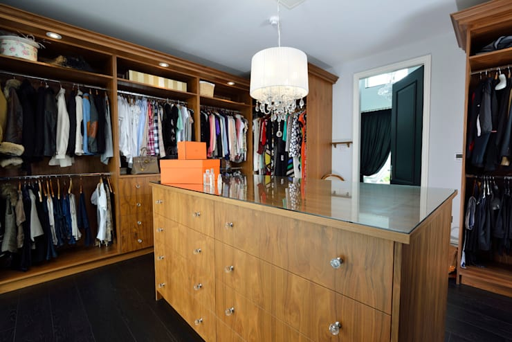 Bespoke Walnut Dressing Room:  Dressing room by Room