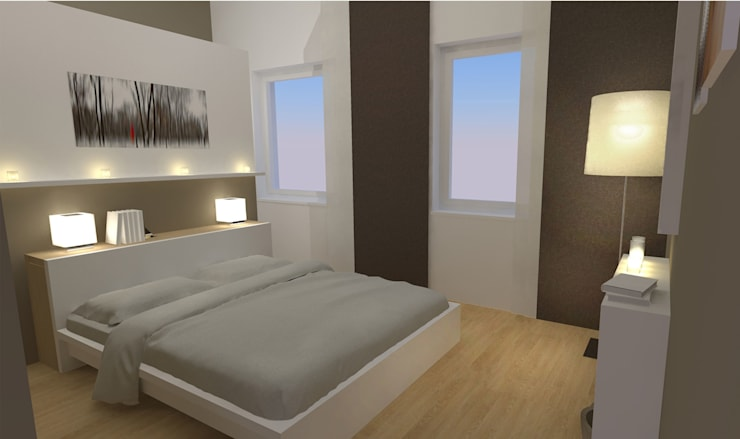 Schlafzimmer Wohnung P. | Betthaupt als Raumteiler von ...