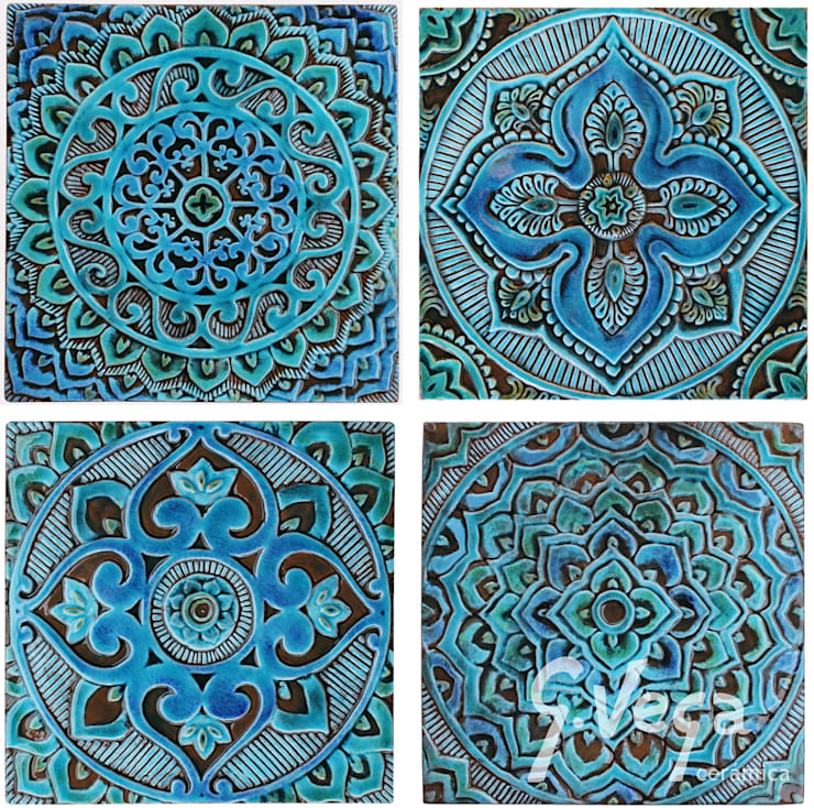 Mandala wall art - turquoise - square by Gvega Ceramica ...