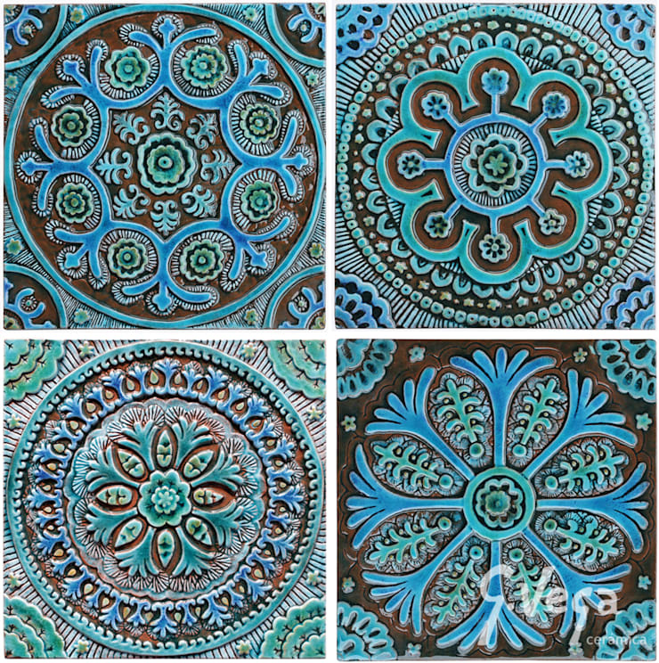 A group of four designs based on the Suzani fabric:  Household by Gvega Ceramica
