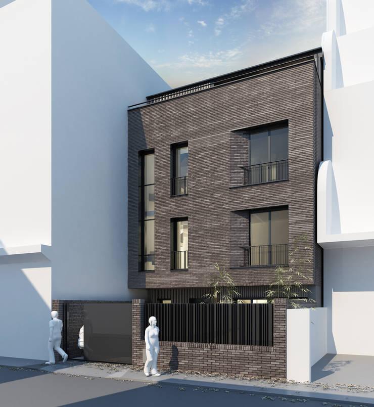 Construction d'une maison en remplacement d'un bâtiment de bureaux: Maisons de style  par BPXE