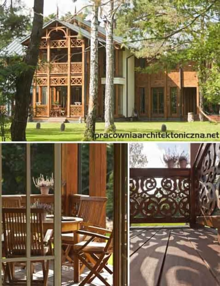Domy : styl , w kategorii Taras zaprojektowany przez Pracownia Architektoniczna Marka Przepiórki