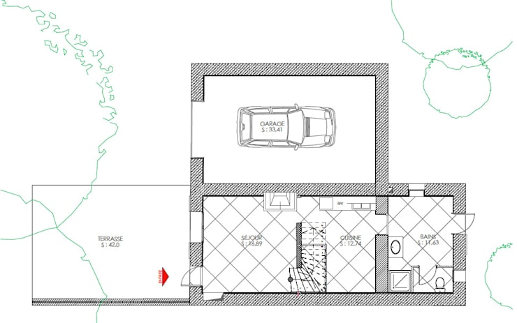 PLAN RDC AVANT: Garage / Hangar de style de style Minimaliste par Agence Mursmurs
