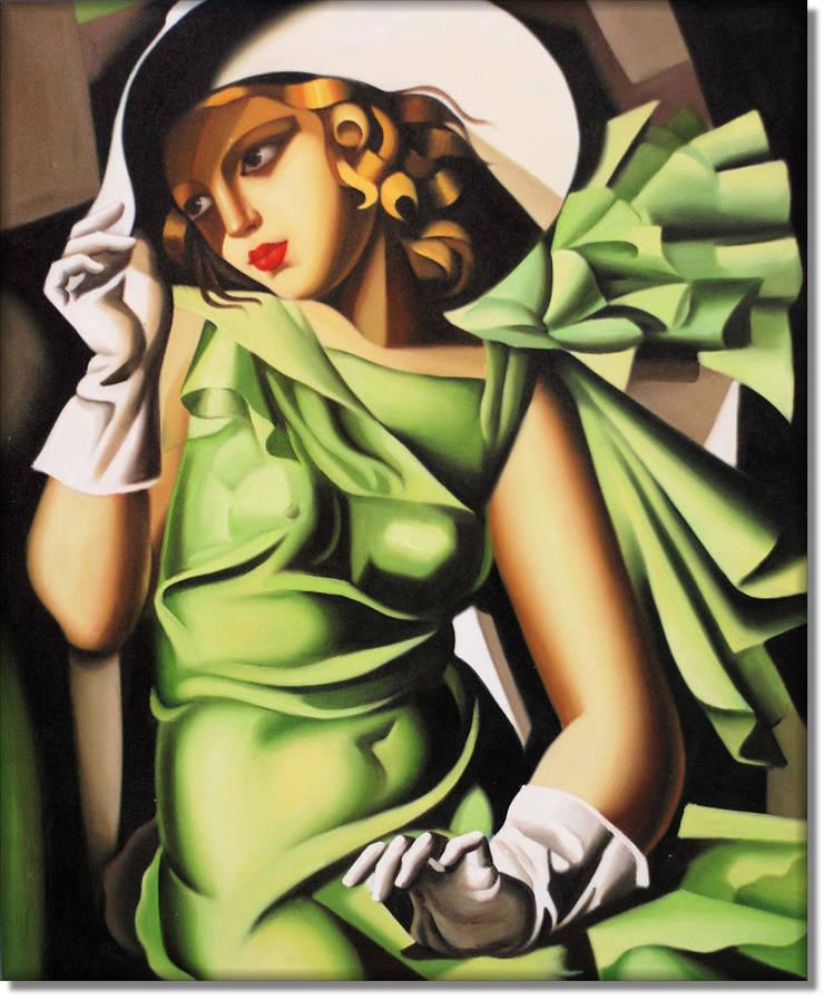 Kobieta w zielonej sukience: styl , w kategorii Sztuka zaprojektowany przez MSP Sp. z o.o.,