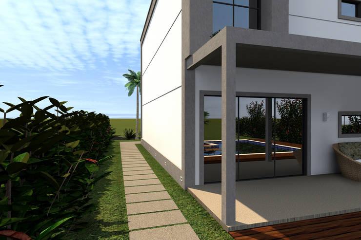 Detalhe da Fachada: Casas  por Konverto Interiores + Arquitetura