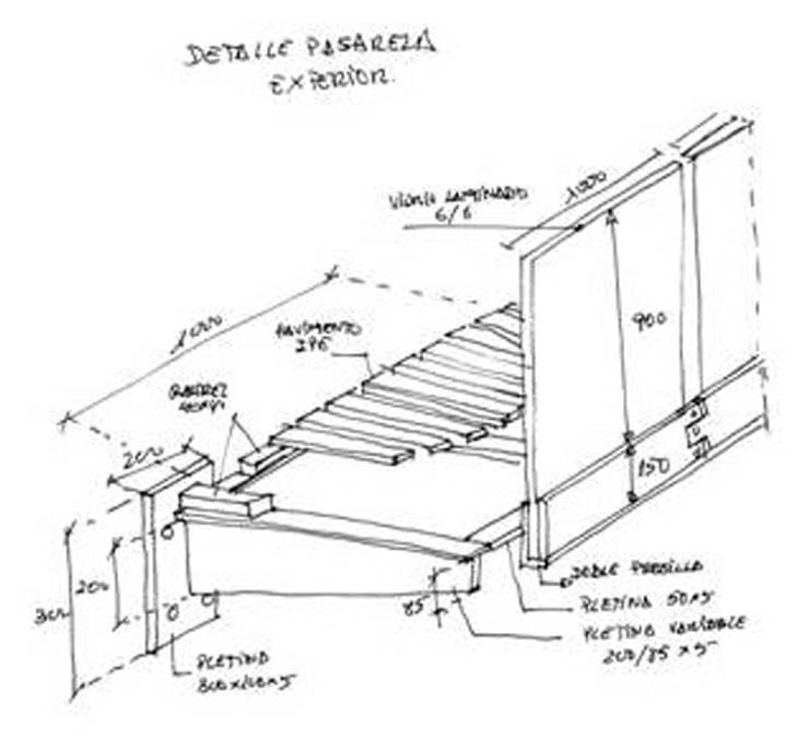 Detalle pasarela exterior:  de estilo  de FG ARQUITECTES