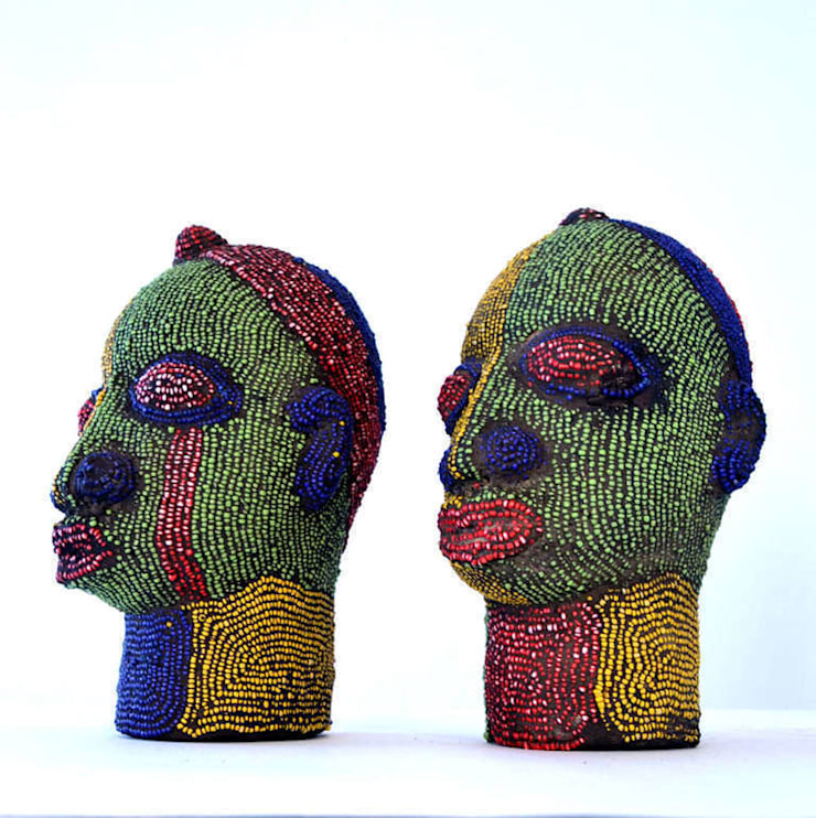 ​Pair of Nigerian Beaded Female Heads:   by The Moderns