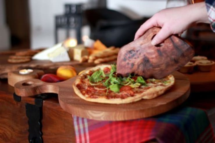 Harch Pizza Board and Quirky Cutter:  Kitchen by Harch Wood Couture