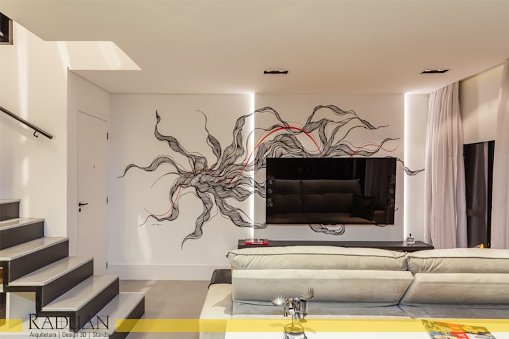 Duplex 80 m² - Vila Madalena: Salas de estar  por Raduan Arquitetura e Interiores