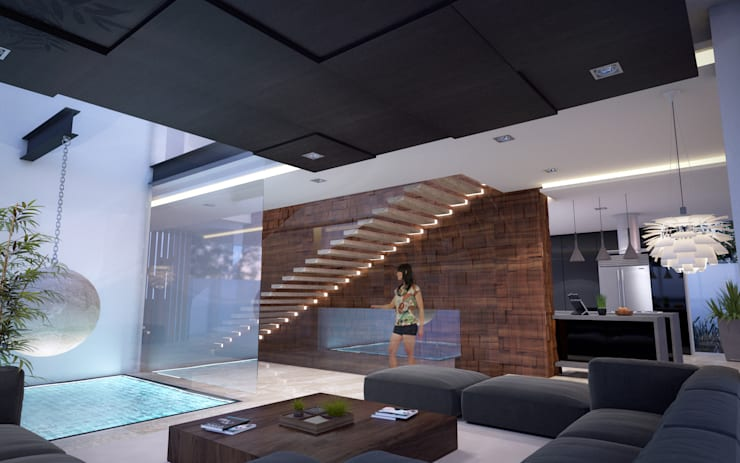 CASA MADEIRA: Salas de estilo minimalista por ALONSO ARQUITECTOS