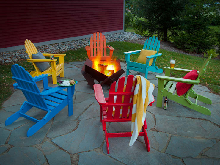 CASA BRUNO sillas Adirondack de polywood: Balcones y terrazas de estilo  de Casa Bruno American Home Decor
