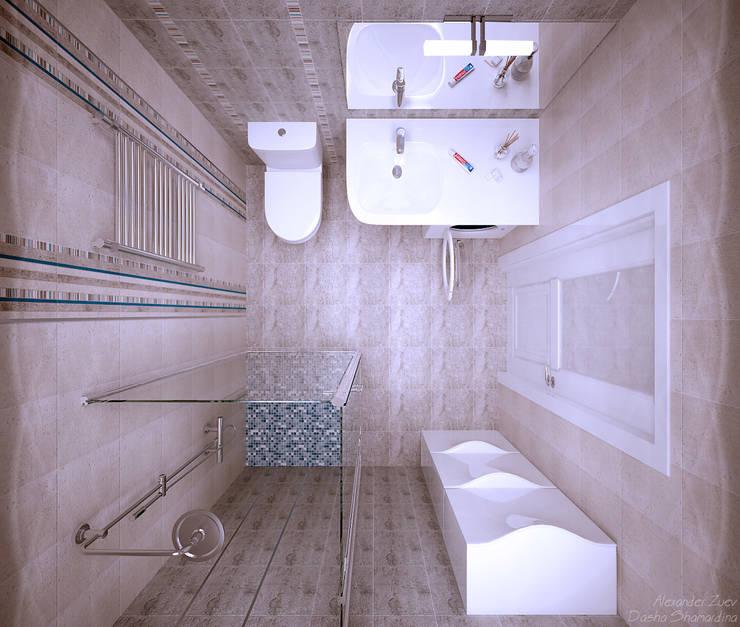 """1-комнатная квартира в ЖК """"На Морской"""" (Краснодар): Ванные комнаты в . Автор – Студия интерьерного дизайна happy.design"""