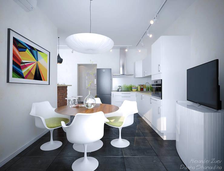 """1-комнатная квартира в ЖК """"На Морской"""" (Краснодар): Кухни в . Автор – Студия интерьерного дизайна happy.design"""