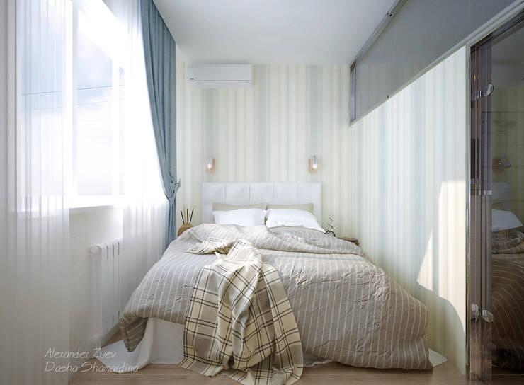 """1-комнатная квартира в ЖК """"На Морской"""" (Краснодар): Спальни в . Автор – Студия интерьерного дизайна happy.design"""