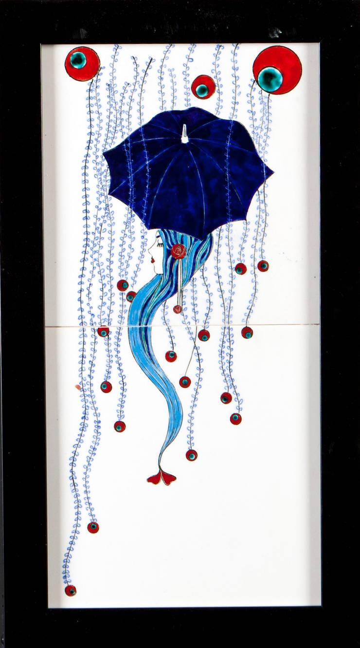 203 Çini ve Seramik Atölyesi – Çiçek  Yağmurundan Korunan Şemsiyeli kız:  tarz İç Dekorasyon