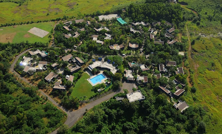 Arial View, Residential Cluster:   by Christopher Charles Benninger Architects Pvt. Ltd.
