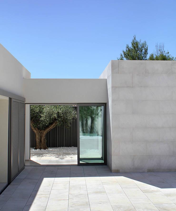 Vue sur l'olivier et son patio: Terrasse de style  par Hamerman Rouby Architectes