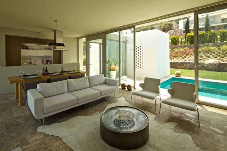 HANDE KOKSAL INTERIORS – House A1 – A1 Evi:  tarz Oturma Odası, Modern