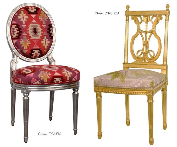 Chaises Louis XVI Tours & Lyre CB: Salon de style  par BALCAEN Mobilier de style, Paris