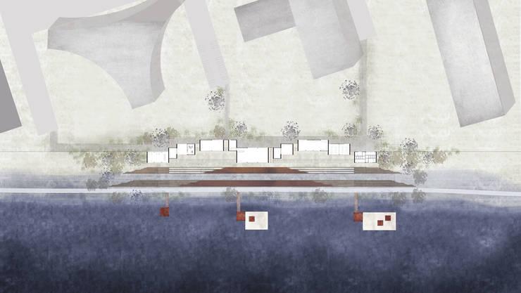Une scène sur l'eau, entre berges et industries:  de style  par A.L