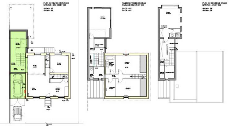PLans des niveaux: Maisons de style  par Atelier d'Architecture Marc Lafagne,  architecte dplg