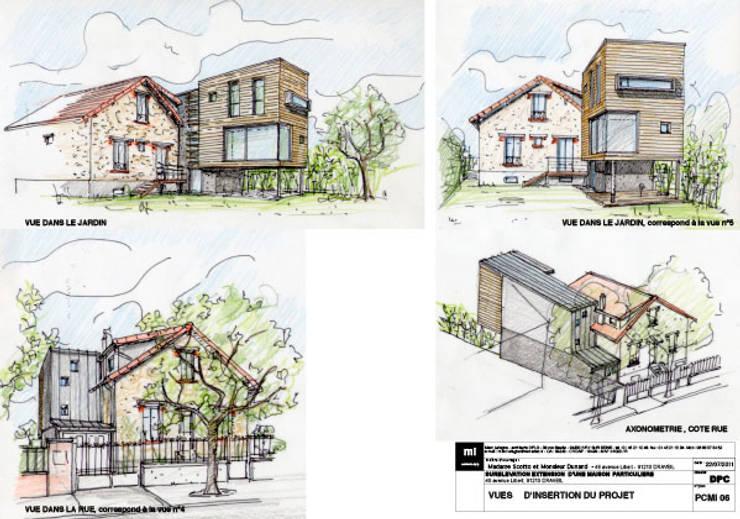Planche d'insertion du permis de construire: Maisons de style  par Atelier d'Architecture Marc Lafagne,  architecte dplg