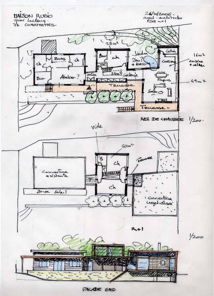Plans et façade remis avec l'esquisse: Maisons de style  par Atelier d'Architecture Marc Lafagne,  architecte dplg