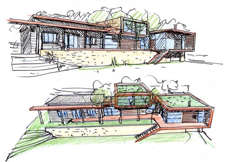 Les perspectives rendues avec l'esquisse: Maisons de style  par Atelier d'Architecture Marc Lafagne,  architecte dplg