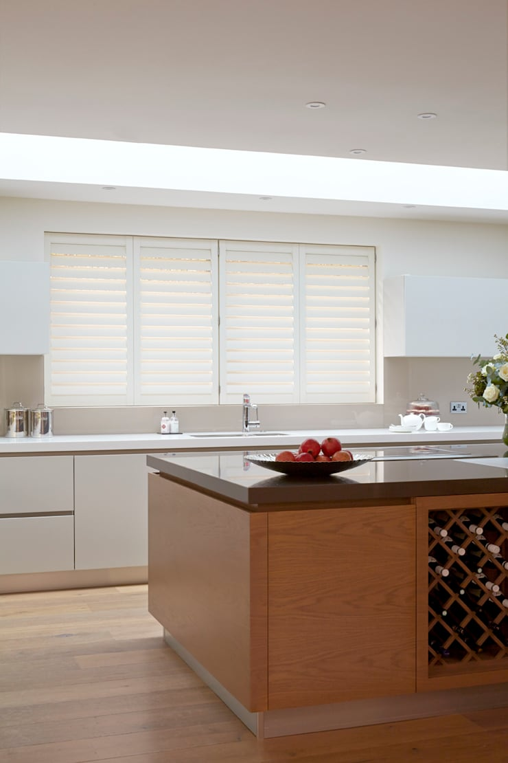 Kitchen shutters:  Kitchen by The New England Shutter Company
