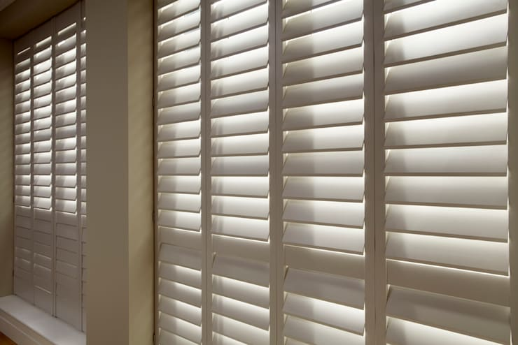 Living Room Shutters :  Living room by The New England Shutter Company