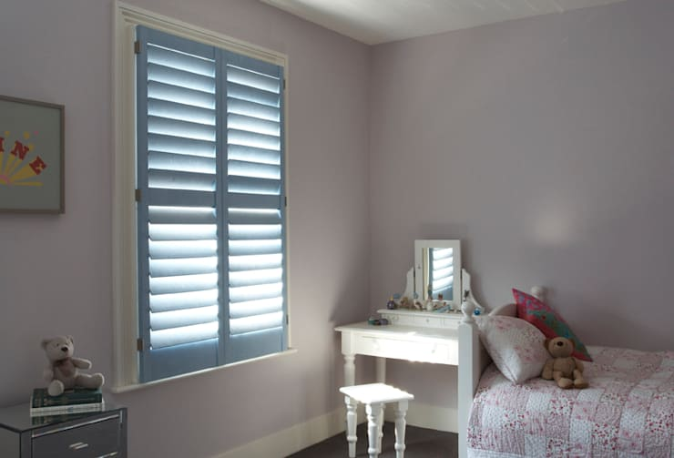 Faux Leather and Suede Shutters :   by The New England Shutter Company