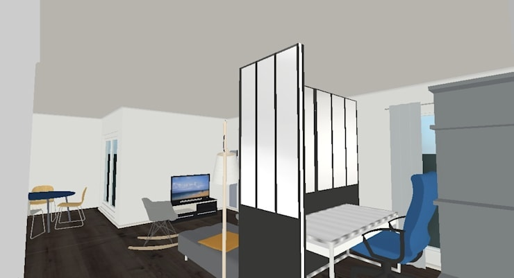 Bureau Projet 3D: Salon de style  par Decorexpat