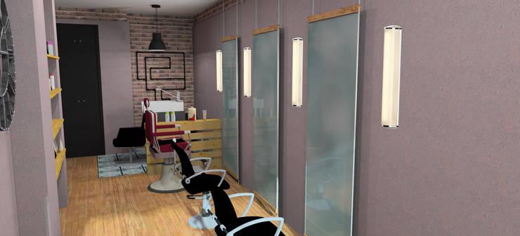 Diseño peluquería Hairfeeling en Valencia: Espacios comerciales de estilo  de PEANUT DESIGN STUDIO