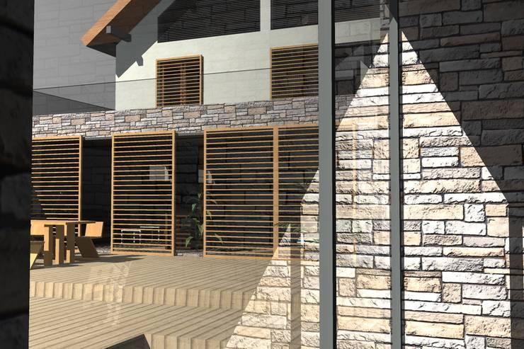 Vue de l'intérieur du poolhouse:  de style  par Urban log/in